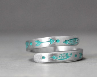 Feather Ring, Arrow Ring, Wrap Ring, Hand Stamped Jewelry, Personalized Jewelry, Hand Stamped Ring, Feather Jewelry, Arrow Jewelry