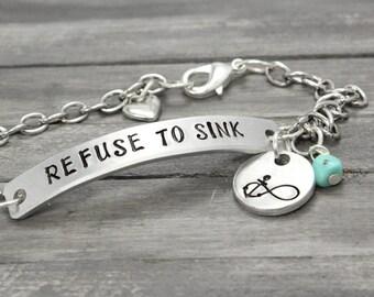 Anchor Bracelet, Anchor Charm Bracelet, Refuse To Sink, Custom Bracelet, Personalized Jewelry, Nautical BraceletHandstamped Jewelry,