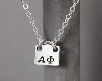 Alpha Phi Necklace, Bar Necklace, Sorority Necklace, Sorority Jewelry, Big Sis Lil Sis, Hand Stamped, Sister Gift, Alpha Phi Necklace