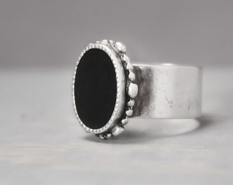 Black Tourmaline Ring, Adjustable Ring, Black Ring, Ornate Ring, Statement Ring, Grounding Ring, Meditation Jewelry, Crystal Jewelry, Schorl