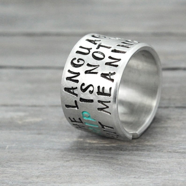 Quote Ring Inspiration Ring Friendship Ring Best Friend Ring