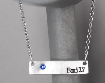 Name Necklace, Birthstone Necklace, Bridesmaid Necklace, Hand Stamped Jewelry, Name Jewelry, Birthsthone Jewelry, Stamped Necklace