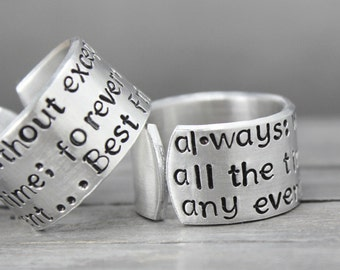Best Friends Rings, Friendship Rings, BFF Rings, Personalized Ring, Hand Stamped Ring, Personalized Jewelry, BFF Rings, Always Friends Ring