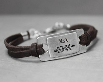 Chi Omega Leather Bracelet, Sorority Jewelry, Chi Omega Bracelet, Pewter Bracelet, Sorority Bracelet, Hand Stamped Bracelet,