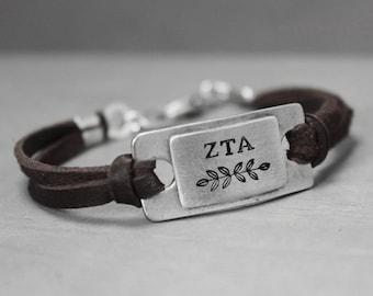 Zeta Tau Alpha Bracelet, Sorority Jewelry, Zeta Tau Alpha Leather Bracelet, Pewter ZTA Bracelet, Sorority Bracelet, Hand Stamped Bracelet,