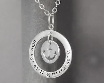 Silver Coordinate Necklace, Anchor Necklace, Sterling Silver Necklace, Stamped Coordinate Jewelry Latitude Longitude Necklace, Special Place