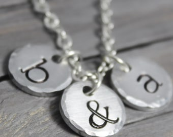 Mother Necklace, Initial Necklace, Hand Stamped Jewelry, Personalized Jewelry, Initial Jewelry, Monogram Necklace