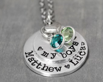 Mothers Necklace, Birthstone Necklace, Child Name Necklace, Stamped Mother Necklace