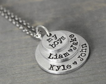 Mother Necklace, My Boys Necklace, Mom of 4, Mommy Necklace, Hand Stamped Jewelry, Birthstone Necklace, Child Name Necklace, Mother Jewelry