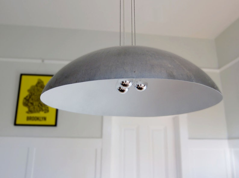 Large 26 Diameter Steel Dome Pendant Light white image 0