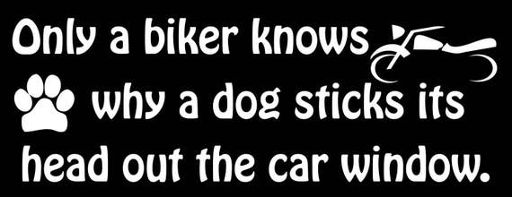 ONLY BIKERS KNOW WHY DOGS STICK THEIR HEAD OUT THE WINDOW HELMET STICKER