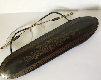 Antique  Lacquer Paper Mache  Eyeglasses Case, Gold Painted Decoration