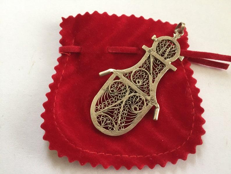 Handmade Berber Art with ResinAmber Tear Drop Ethnic Jewelry Vintage Filigree Silver Moroccan Berber Pendant