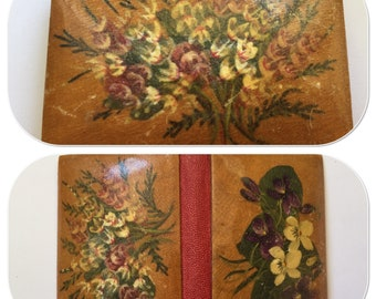 Antique Needle Case Book, Hand Painted Violets, Sewing  Supplies