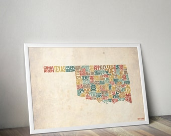 Oklahoma by County - Typography Print