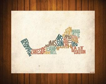 The Neighborhoods of Muskegon - Typography Print