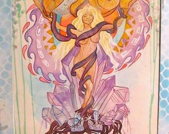 Crystal Goddess Artwork, Psychedelic Artwork, Festival Art, Concert Poster, Crystal Painting, Amethyst Art, Nature Art, Watercolor Painting