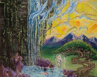 Art Poster Print, Amethyst Art, Peaceful Art, Bonzai Art, Zen Artwork, Meditation Art, Sunset Painting, Mountain Painting, Waterfall Artwork