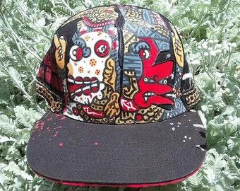 Aztec Artwork, Mayan Art, Galactic Art, Cosmic Art, Custom Hat, Hand painted Hat, Flat brim, Baseball Cap, One of a Kind Hat, Acrylic Art