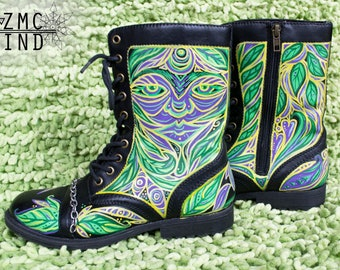 Hand Painted Leather Boots, Tribal Shoes, Psychedelic, Durable Shoes, Tribal Style Fashionable Artist Original Shoes Jungle Pattern Boots