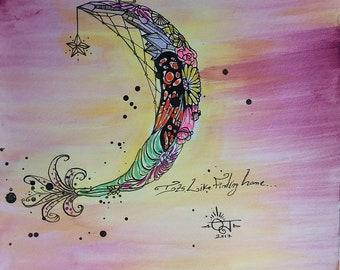 Original Framed Illustration Artwork, Flower Design, Crystal Art, Crescent Moon Design, Original Watercolor, Wall Art, Fantasy, Tattoo