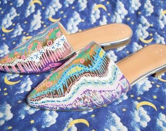 Colorful slides, vintage slides, handpainted shoes, handpainted slips, handpainted slides