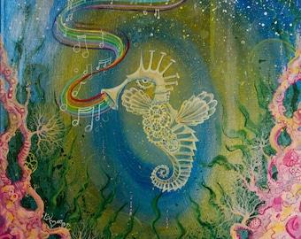 Seahorse Artwork, Ocean Art, Coral reef art, Rainbow Art, Music Art, Colorful Art Print, Seahorse Painting, Under the sea Art, Mermaid Art