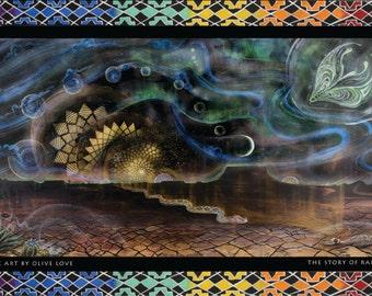 Cosmic Artwork, Space Art, Northern Lights Art, Alien Art, Rainbow Serpent Art, Desert Art, Dreamy Artwork, Tribal Painting, Surreal Art