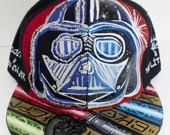 Star Wars Art, Star Wars Hat, Darth Vader Art, Darth Vader Hat, Light Saber Art, Cosmic Art, Handmade Hat, Custom Hat, Hand Painted Hat
