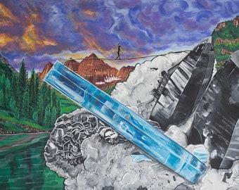 Slackline Art, Outdoor Painting, Landscape Painting, Gem and Mineral Art, Tourmaline Painting, Adventure Artwork, Mineral Inspired Art