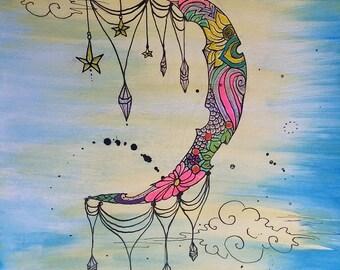 Original Illustration Drawing, Original Watercolor and Ink, Crescent moon, Moon Art, Fairy Art, Flower Art, Crystal Painting, Tattoo Design
