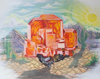 Fine Art Print, Archival Art Print, Crystal Art, Gem Painting, Mineral Painting, Gem and Mineral Art, Wulfenite Gem Specimen, Wall Art