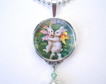 Easter Necklace Charming Bunny Rabbit Graphic Art Pendant Vintage Charm Jewelry Handmade by Charmedware