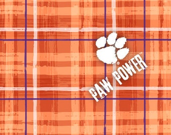 6b4ec8cb881 Clemson University Cotton Fabric with Plaid Design-Officially Licensed-Sold  by the Yard