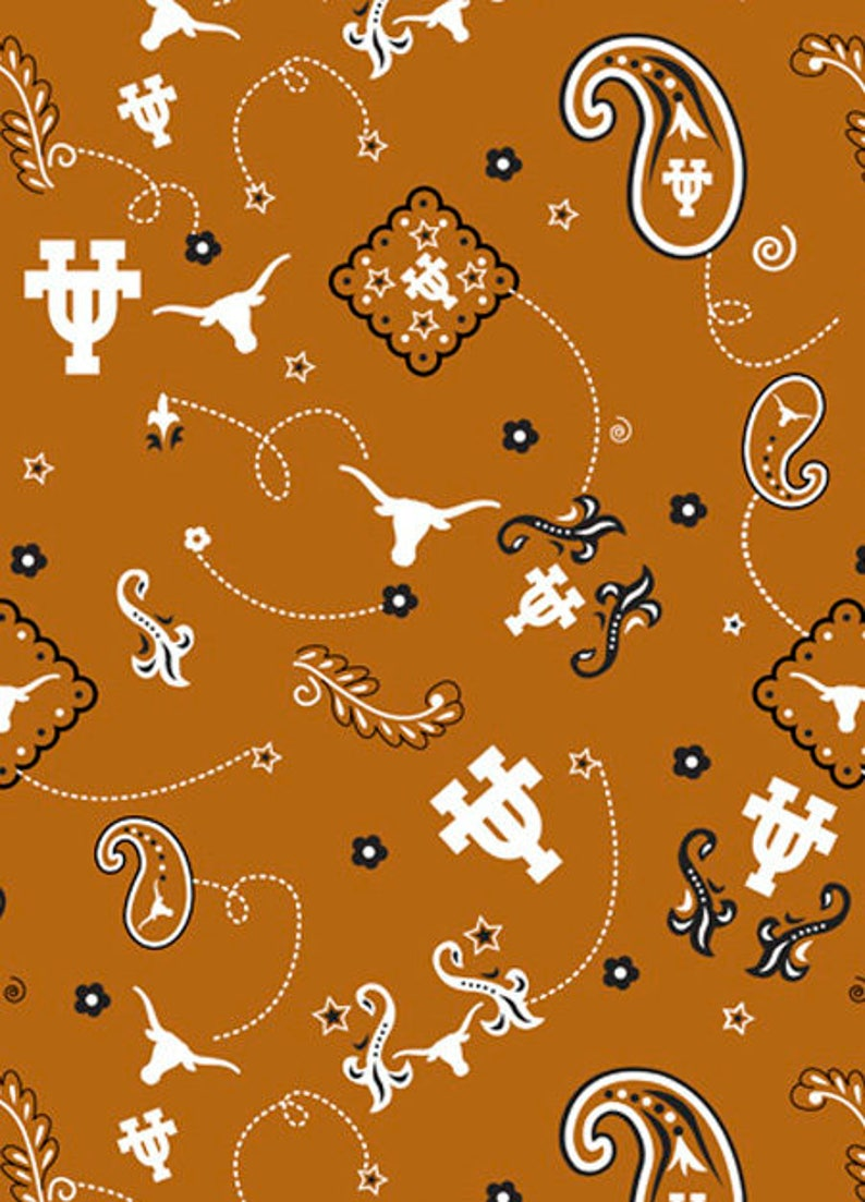 University of Texas Cotton Fabric with Bandanna design-100/% Cotton Design-Officially Licensed-Sold by the Yard