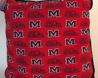 University of Mississippi Throw Pillow-Ole Miss Accent Pillow-Perfect for Dorms, Dens, Bedrooms, Cars, etc