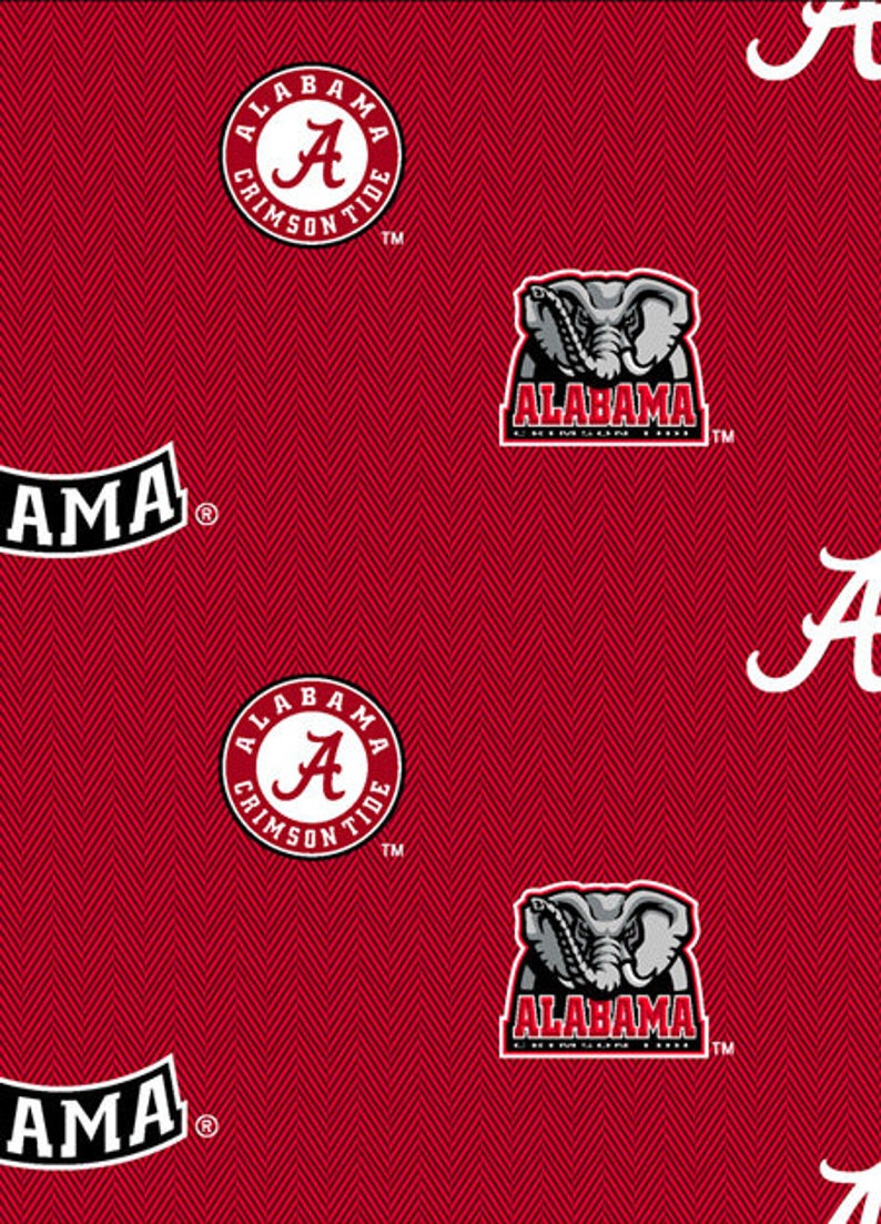 100/% cotton fabric-Sold by the Yard University of Alabama Cotton Fabric with Solid Herringbone Design
