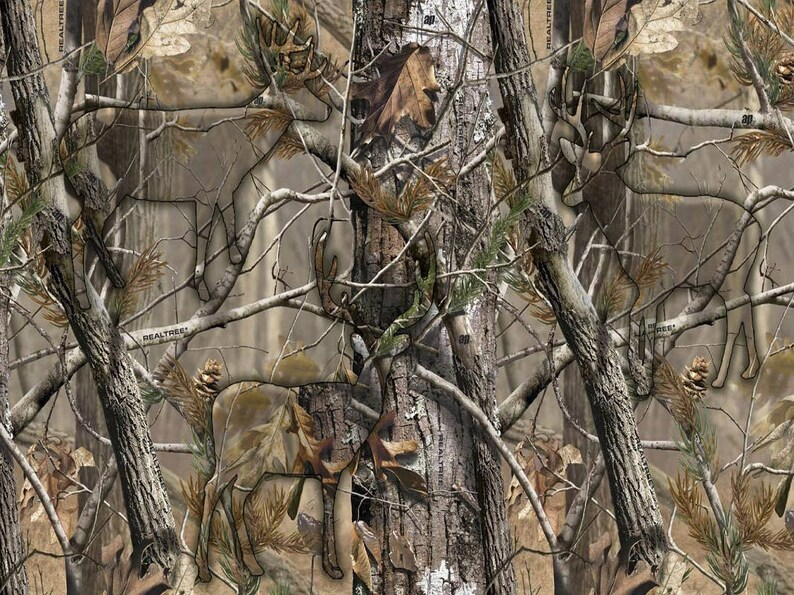 Realtree Cotton Fabric With Hidden Animals Realtree Camo Etsy