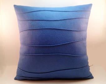 Blue Wool Felt Pillow, Modern Home Decor, Pillow with Wavy Ribbing, Decorative Pillow, Modern Pillow, 16 x 16, 18 x 18, 20 x20