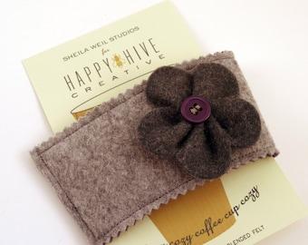 Wool Felt Coffee Cozy - Reusable Coffee Sleeve, Wool Felt Coffee Cozie - Coffee Lover - Stocking Stuffer -  Secret Santa - Teacher Gift