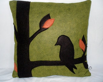 Green Wool Felt Pillow, Modern Home Decor, Bird Pillow, Tree Pillow, Silhouette Pillow, Applique