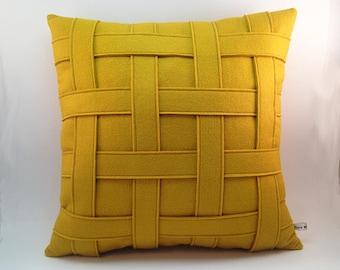 Mustard Yellow Pillow - Wool Felt Pillow - Handmade - Modern - Contemporary - Basket Weave - Criss Cross Pattern - Synthetic Down Insert