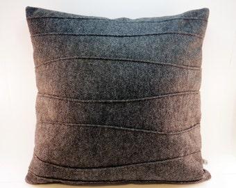 Charcoal Gray Pillow - Wool Felt Pillow - Handmade - Modern Pillow - Pin Tuck - Ribbed - Contemporary Home Decor - Synthetic Down Insert