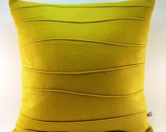 Mustard Yellow Pillow - Wool Felt Pillow - Handmade - Modern Pillow - Ribbed - Pin Tuck - Contemporary Home Decor - Synthetic Down Insert