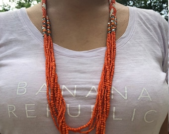 Long Necklace - Seed Beaded