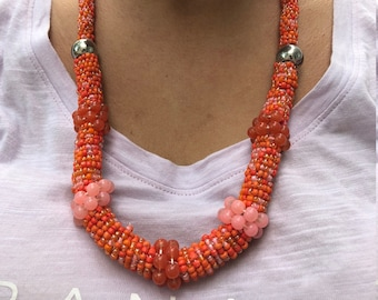 Long Necklace - Seed Beaded Necklace