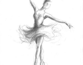 Disegni Di Ballerine Da Disegnare : Stampa della ballerina ballerina schizzo stampa di disegno etsy
