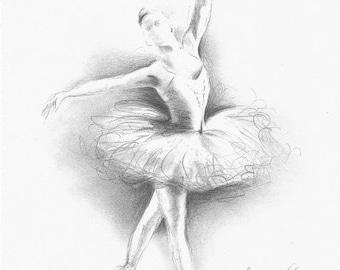 Disegni Di Ballerine Da Disegnare : Ballerina art pencil drawing etsy