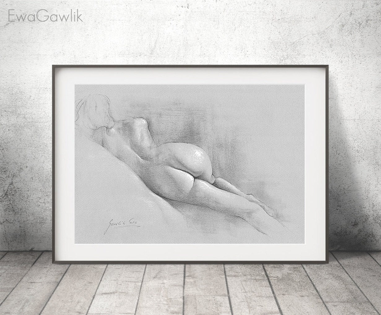 Female nude print pencil drawing print nude drawing erotic art print female nude art drawing sketch erotic wall art black and white