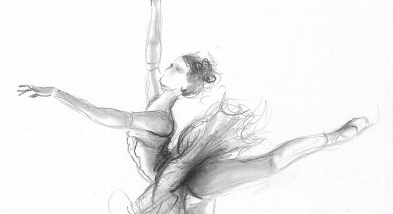 Disegno Di Una Ballerina : Stampa della ballerina ballerina schizzo stampa di disegno etsy